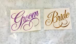 Bride And Groom Stickers Wedding Vinyl Wedding Decal Bride Etsy