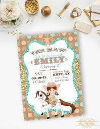 Cowgirl Birthday Invitation Gold Glitter Mint And Coral