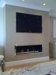 fireplace with tv above linear