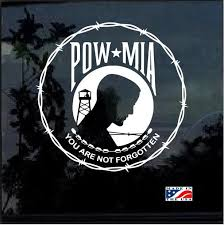 Pow Mia Round Barbed Wire Military Window Decal Stickers Military Stickers Pow Mia Barbed Wire