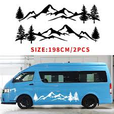 1pair 2pcs For Tree Decal Mountain Scene Large Northwest Car Sticker Vinyl Car Truck Rv Toy Hauler Vehicle Wish
