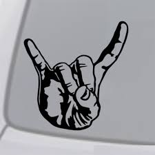 Sign Of The Horns Vinyl Decal Sticker Car Window Bumper Rock Metal Hand Symbol