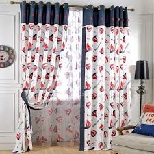 Cotton Poly Red Nautical Pattern Kids Room Curtains