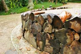 retaining wall made of logs by