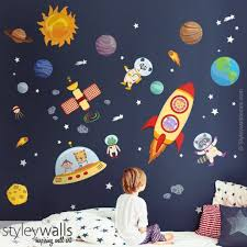 Space Wall Decal Planets Wall Decal Sticker Spaceship Wall Etsy