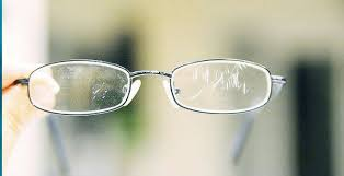 scratches on the lenses of safety eyewear