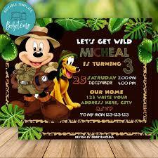Invitacion De Safari Mickey Editable Descarga Instantanea Bobotemp