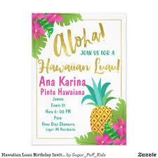 Invitacion Hawaiana Del Cumpleanos De Luau Zazzle Es