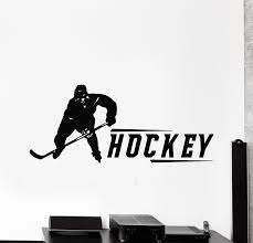 Vinyl Wall Decal Hockey Game Player Boys Room Decor Winter Sport Stick Wallstickers4you
