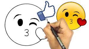 تعليم الرسم للاطفال كيف ترسم ايموجي الفيسبوك وجه مع قلب و غمزة
