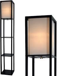 Floor Lamp With Shelves Room Light By Lightaccents Corner Storage Standing Bookshelf Lamp Bedroom Light With Wooden Storage Shelves And White Cotton Linen Shade Black Amazon Com