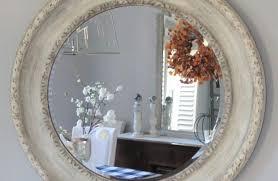 hand painted white round mirror