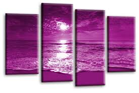 picture wall art beach print purple cream