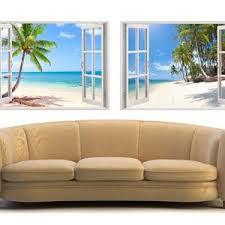 Tropical Caribbean Beach Wall Decal 3d Window Tropical Beach Etsy