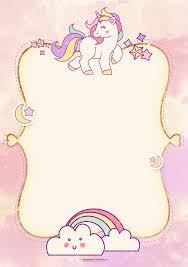 Etiquetas Kawaii Invitacion De Unicornio Tarjetas De