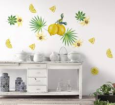 Amazon Com Murwall Lemon Wall Decal For Kitchen Lemon Wall Decor Lily Floral Sticker Summer Fruit Peel N Stick Tropical Leaf Decals For Diningroom Cafe Design Handmade