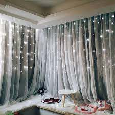 Romantic Stars Window Curtains For Living Room Bedroom Kids Room Wedding Pink Voile Tulle Curtain Double Layer Blackout Curtains Curtains Aliexpress