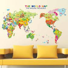Xl7123 Animal World Map Wall Sticker Vinyl Decal Art Mural Kids Room Home Decoration 59 99cm Wall Stickers Aliexpress