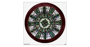Faux Stained Glass Window Round Wall Decal Zazzle Com