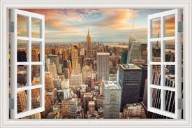 Amazon Com Greathomeart 3d Window Wall Decals New York City Wall Art Cityscape Stickers Home Decor Mural Art Removable Wallpaper 32 X48 Home Kitchen