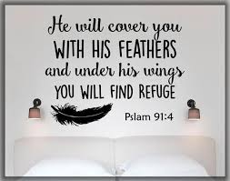 Psalm 91 4 Wall Decal He Will Cover You With His Feathers Etsy