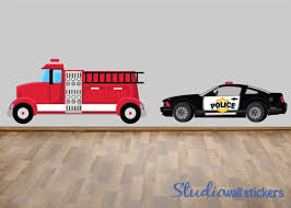 Police Car Firetruck Wall Decal Reusable Wall Decal Etsy