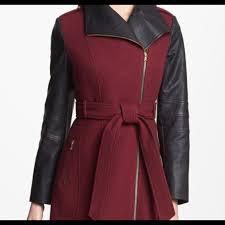 belted woolblend coat faux leather