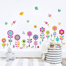 Amazon Com Decalmile Garden Flower Wall Corner Decals Butterfly Floral Baseboard Floral Wall Stickers Baby Nursery Girls Bedroom Classroom Wall Decor Arts Crafts Sewing