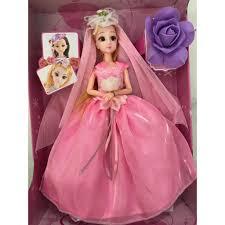 Búp bê cô dâu váy hồng, mắt thủy tinh, khớp