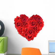 Heart Shaped Red Roses Wall Decal Wallmonkeys Com