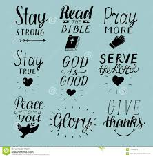 set of hand lettering christian quotes stay strong peace to you