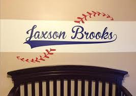 Custom Name Added To Baseball Vinyl Wall Decal Baseball Theme Word Factory Design