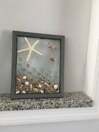 sea glass resin framed art beach decor
