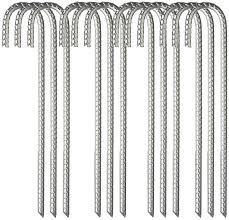 Amazon Com Molpe 12 Pack Galvanized Rebar Tent Stakes J Hooks 16 Inch Dog Dig Defence Chain Link Fence Stakes Canopy Yard Landscape Garden Staples Heavy Duty Metal Steel Ground Anchors Silver