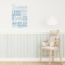 Beach Rules Wall Decal Quote