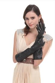 leather gloves long black women s long