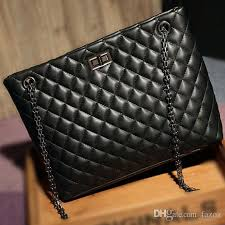 black plaid quilted leather tote