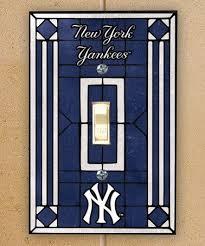 york yankees art glass light switch