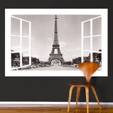 Paris Window Wall Mural Decal Window Wall Mural Wall Mural Decals Eiffel Tower Wall Decal