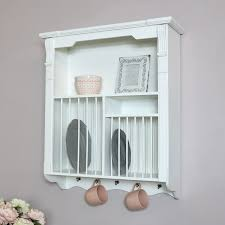 white wall mounted plate rack melody