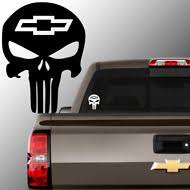 Chevy Skull Vinyl Decal Sticker Punisher Bowtie Chevrolet Silverado S10 0453 Cup Decal Vinyl Decal Stickers Window Decals