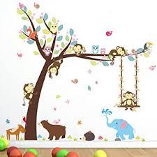 Amazon Com Cartoon Monkey Owls Tree Jungle Animal Theme Wall Art Decal Sticker Mural Decoration For Living Room Nursery Baby Girl Boy Kids Children S Room Bedroom Decor B Baby