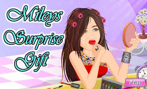 game miley cyrus surprise gift make up