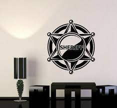 Vinyl Wall Decal Sheriff Badge Police Star Law Boys Room Stickers Mural G622 Ebay