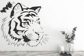 Tiger Face Wall Decals Animals Wall Vinyl Tiger Wall Art Etsy In 2020 Face Wall Decal Tiger Wall Art Sticker Wall Art