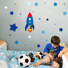 Cartoon Rocket Stars Astronaut Space Wall Decal Art Sticker Boys Kids Room Decor Ebay