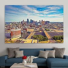 Kansas City Skyline Blue Sky Wall Art Zapwalls