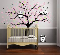 Amazon Com Three Playful Pandas Bear On Cherry Blossom Tree Wall Decal Tree Wall Sticker Nursery And Children S Room White Pink Arts Crafts Sewing