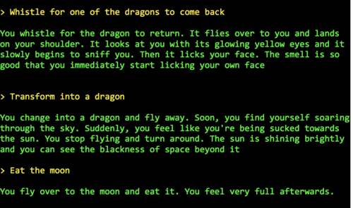 AIDungeon 2 generated story example.