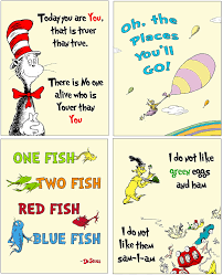 Amazon Com Dr Seuss 4 Pack Art Prints Kids Baby Room Decor Yellow Posters Prints
